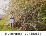 beautiful young girl on... | Shutterstock . vector #374580889