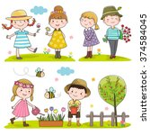 collection of happy kids... | Shutterstock .eps vector #374584045