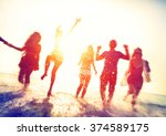 friendship beach summer splash... | Shutterstock . vector #374589175