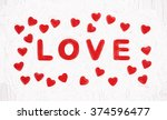 red title love with hearts.... | Shutterstock . vector #374596477