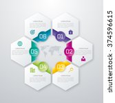 Colored hexagons with shadows on the grey background. Eps 10 vector file. | Shutterstock vector #374596615
