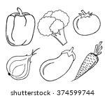 vegetables set on white... | Shutterstock .eps vector #374599744