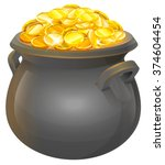 full cauldron of gold. isolated ... | Shutterstock .eps vector #374604454