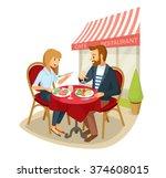 vector couple having a dinner...