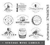 set of wine labels. elements... | Shutterstock .eps vector #374608765