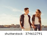 couple in love holding hands... | Shutterstock . vector #374612791
