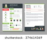 cv layout template with... | Shutterstock .eps vector #374614369