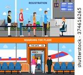 airport horizontal banners set...   Shutterstock .eps vector #374616265