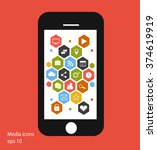 flat mobile phone vector with...