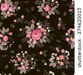 Stock vector seamless floral pattern with rose bouquet on dark background 374620015
