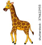 cute giraffe cartoon | Shutterstock . vector #374622955