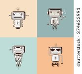 cute vintage robots in sepia... | Shutterstock .eps vector #374622991
