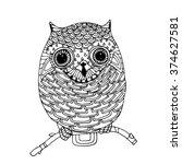 little zentangle owl  vector... | Shutterstock .eps vector #374627581