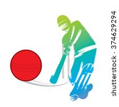 cricket player design by paint... | Shutterstock .eps vector #374629294