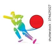 creative sketch cricket player... | Shutterstock .eps vector #374629327