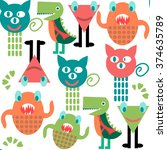 abstract adorable monsters ... | Shutterstock .eps vector #374635789
