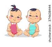 Smiling Toddler Boy And Girl...