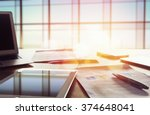 office workplace with laptop on ... | Shutterstock . vector #374648041