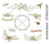 wedding floral set with wreath  ... | Shutterstock .eps vector #374661169