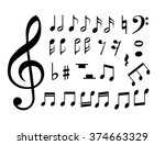 set of music notes vector | Shutterstock .eps vector #374663329