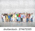 multi ethnic group of mixed age ...   Shutterstock . vector #374672335