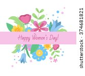women's day greeting card.... | Shutterstock .eps vector #374681821