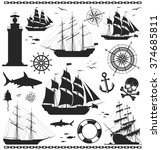 set of silhouettes of sailing... | Shutterstock .eps vector #374685811