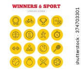 winners and sport icons. winner ... | Shutterstock .eps vector #374703301