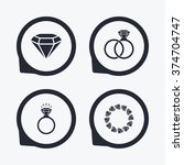 rings icons. jewelry with shine ... | Shutterstock .eps vector #374704747
