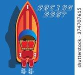 Racing Boat. Top View. Vector...