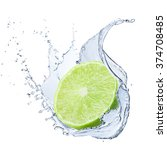 fresh lime with water splash | Shutterstock . vector #374708485