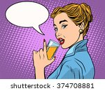 girl alcoholic drink | Shutterstock .eps vector #374708881