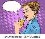 girl alcoholic drink | Shutterstock vector #374708881
