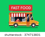fast food city car with man on...   Shutterstock .eps vector #374713831