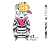 panda boy dressed up in urban... | Shutterstock .eps vector #374714035