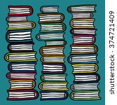 three hand drawn stacks of... | Shutterstock .eps vector #374721409