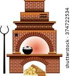 masonry stove  stone oven  ... | Shutterstock .eps vector #374722534