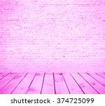 Pink Brick Wall Background Wit...