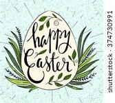 happy easter typographical...   Shutterstock .eps vector #374730991