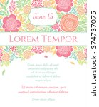 invitation wedding card with... | Shutterstock .eps vector #374737075