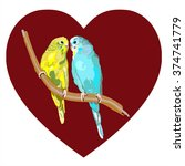 sun parakeets vector of birds... | Shutterstock .eps vector #374741779