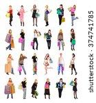 isolated concept women shopping  | Shutterstock . vector #374741785