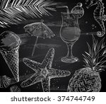 hand drawn summer set on... | Shutterstock .eps vector #374744749