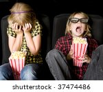 frightened boy and girl wearing ... | Shutterstock . vector #37474486