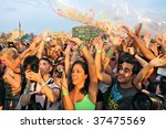 BROOKLYN, NY - AUGUST 23:  Fans enjoying the Jelly Pool Party held at East River Park on August 23, 2009 in Brooklyn, NY. - stock photo