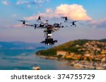 the drone with the professional ... | Shutterstock . vector #374755729