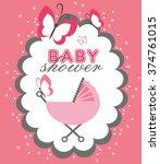 announcement baby shower card....   Shutterstock .eps vector #374761015