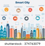 smart city concept with... | Shutterstock .eps vector #374763079
