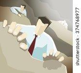 businessman climbs up the cliff ... | Shutterstock .eps vector #374768977