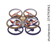 Drone Isolated On White  Vecto...